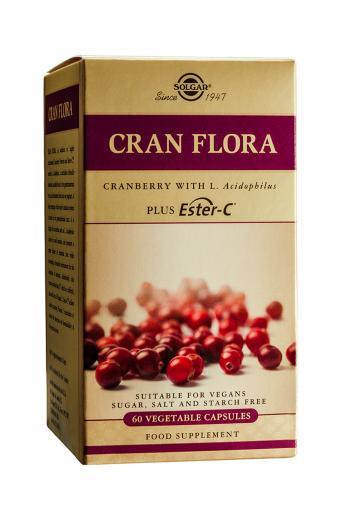 Solgar Cran Flora Cranberry with L Acidophilus Plus Ester-C Vegetable  Capsules