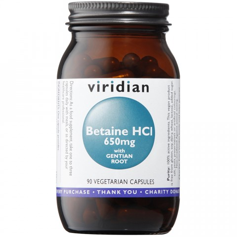 Viridian Betaine HCL 650mg with Gentian Root 90 Capsules